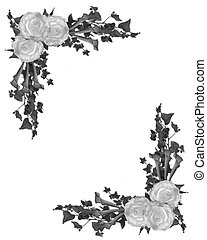 Black and white floral border - Image and illustration...
