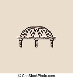 Rail way bridge sketch icon - Rail way bridge sketch icon...