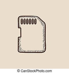 Memory card sketch icon - Memory card sketch icon for web,...