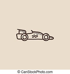 Race car sketch icon - Race car sketch icon for web, mobile...
