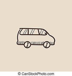 Minivan sketch icon. - Minivan sketch icon for web, mobile...