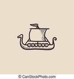 Old ship sketch icon - Old ship sketch icon for web, mobile...