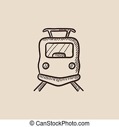 Front view of train sketch icon - Front view of train sketch...