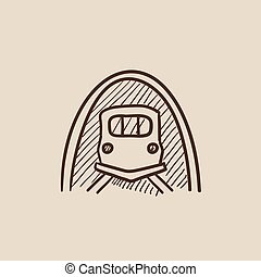 Railway tunnel sketch icon - Railway tunnel sketch icon for...