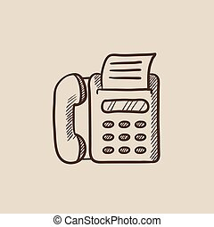 Fax machine sketch icon. - Fax machine sketch icon for web,...