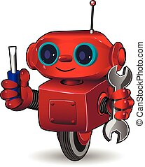 Red robot with tool