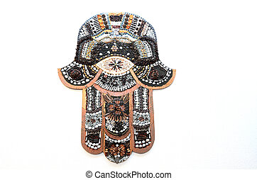 Hamsa hand ward off the evil eye symbol, a palm-shaped...