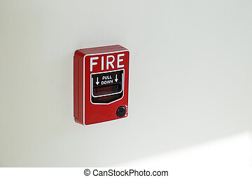 red box fire emergency alarm on wall