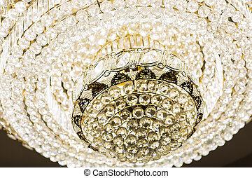 Chrystal chandelier close-up. Glamour black and white...