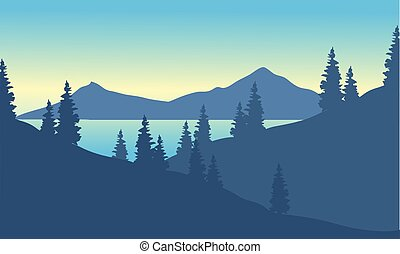 Landscape mountain with spruce at the morning