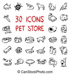 Big set icons for pet store - Big set of vector icons drawn...