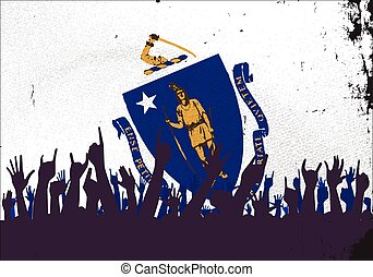 Massachusetts State Flag with Audience