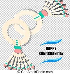 Happy Songkran Day background with jasmine garland