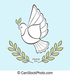 White dove with an olive branch.