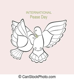 Two white dove with an olive branch.