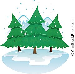 Winter Mountains with Pine trees - Vector Illustration of...