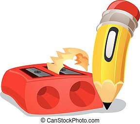 Pencil with Sharpener - Vector Illustration of Pencil with...