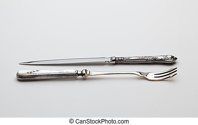 Antique sterling silver knive and fork - Old fashioned...