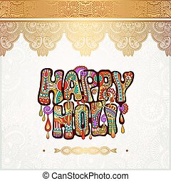 creative colored hand drawing inscription of Indian festival...