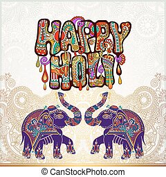 original Happy Holi design with elephant on floral Indian...
