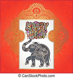 Happy Holi design with elephant on floral Indian background...