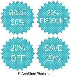 Discount labels. Vector. - Discount labels. Sale 20 percent....