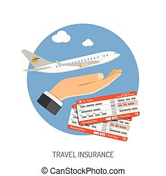 Travel Insurance Flat Icon for Poster, Web Site, Advertising...