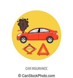 Car Insurance Flat Icon for Web Site, Advertising with...