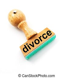 divorce concept with stamp and copyspace in office