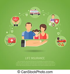Life Insurance Concept for Web Site, Advertising with Hand,...