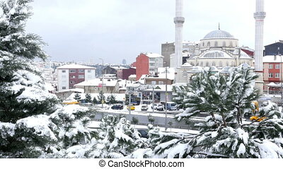 """Snow raining over istanbul, turkey, snowy day"""