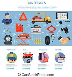 Car Service Infographics with Flat Icons for Poster, Web...