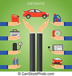 Car Service Concept with Hand and Icons for Poster, Web...