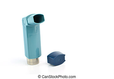 Bronchodilator inhaler using in Asthma patient on white...