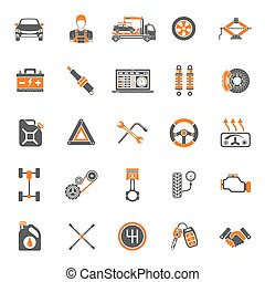 Car Service Vector Icons Set - Car Service Two Color Icons...