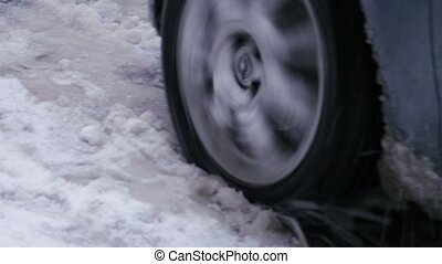 """Car stuck, wheel slip spinning skating, snowy frozen..."