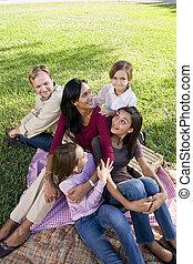 Family of five having picnic in park