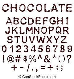 alphabet letters, numbers and symbols made of chocolate...
