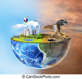 Eco concept. Half sphere of earth with light side and darker...