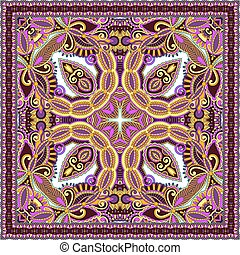 authentic silk neck scarf or kerchief square pattern design...