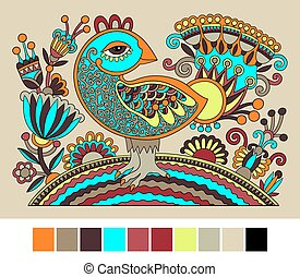 Ukrainian hand drawn ethnic decorative pattern with bird and...