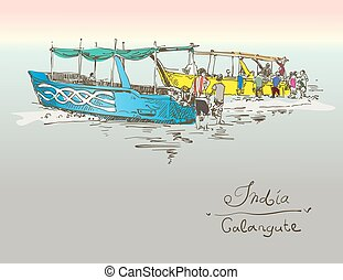 India Calangute Beach sketch drawing with two boats ashore