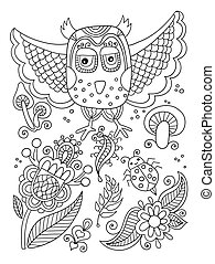 line drawing of forest elements - owl, flowers, mushrooms,...