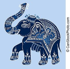 ethnic folk art Indian elephant, dot painting illustration