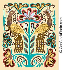 original Ukrainian hand drawn ethnic decorative pattern with...