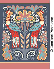Ukrainian hand drawn ethnic decorative pattern with two...