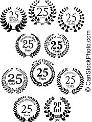 Anniversary heraldic laurel wreaths icons - Anniversary...
