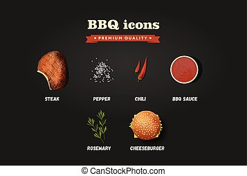 Realistic vector bbq icons set. Top view illustrations on the black background.