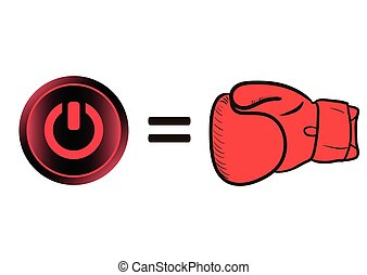 Boxing glove and icon switching off - Boxing glove and red...