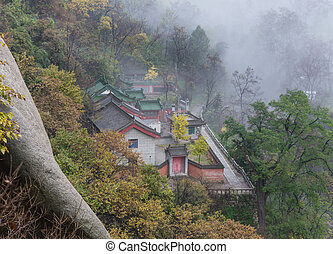 Mount Huang with Fog - Mount Huang Shan with Fog in winter